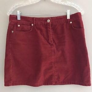 J. Crew Corduroy Burnt Orange Mini Skirt Sz 6